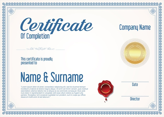 Certyfikat osiągnięcia szablonu projektu retro