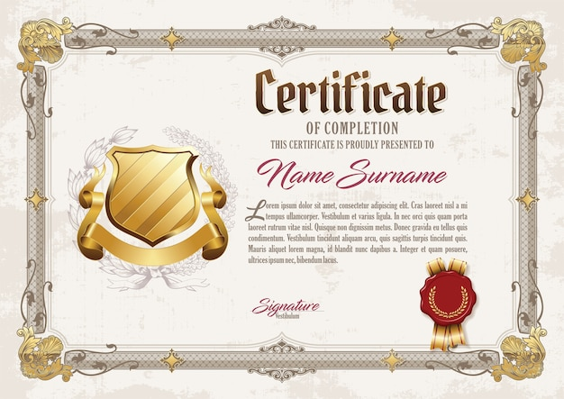 Certyfikat osiągnięcia vintage frame