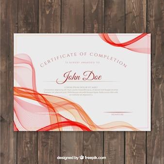 Certyfikat osiągnięcia z czerwonymi kształtów falistych