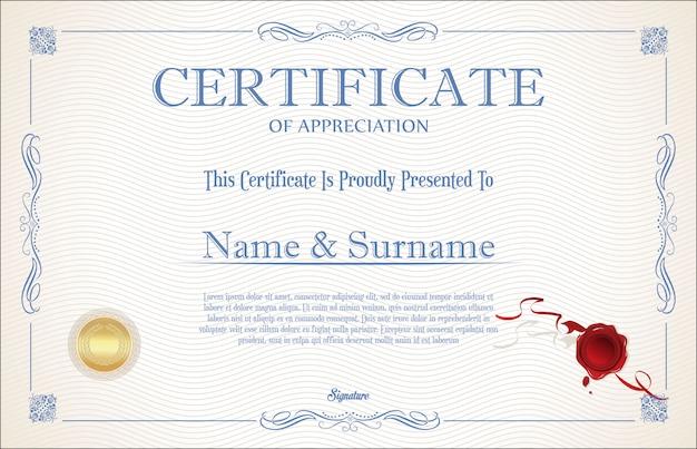 Certyfikat retro starodawny szablon