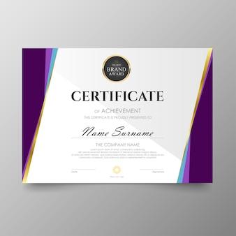 Certyfikat szablon premii nagrody dyplom tło wartość wektor i luksusowy układ.
