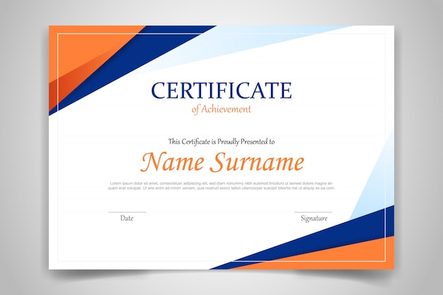 Certyfikat szablon transparent z wielokąta geometrycznego kształtu na pomarańczowy i niebieski
