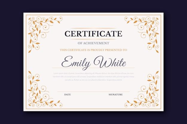 Certyfikat szablonu eleganckiej ramy