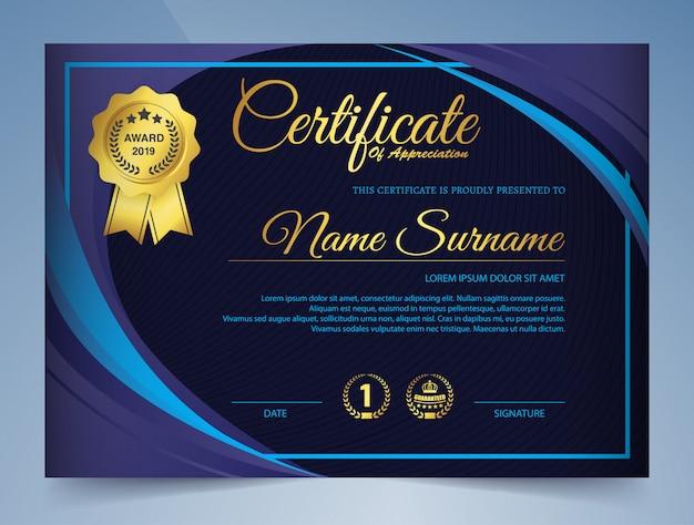 Certyfikat szablonu nagrody w eleganckim granatowym kolorze