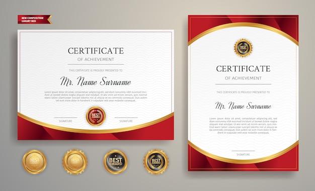 Certyfikat szablonu nagrody, złoty i czerwony kolor z odznakami