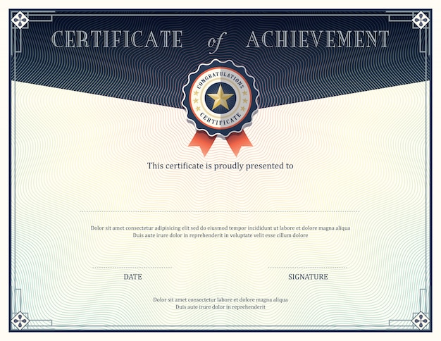 Certyfikat szablonu projektu osiągnięcia