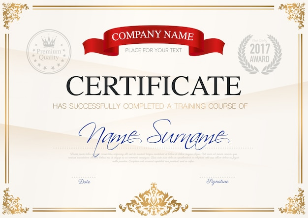 Certyfikat szablonu ukończenia