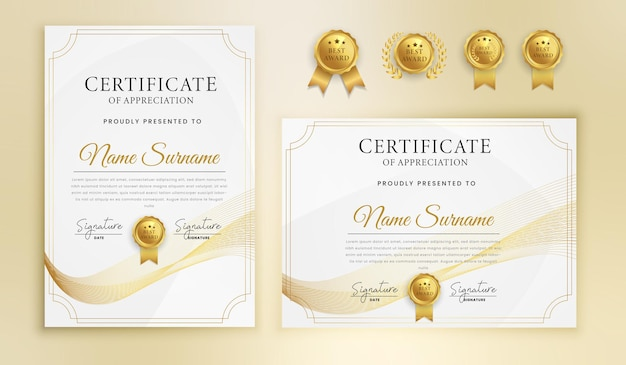 Certyfikat ukończenia uznania złote faliste linie i szablon granicy