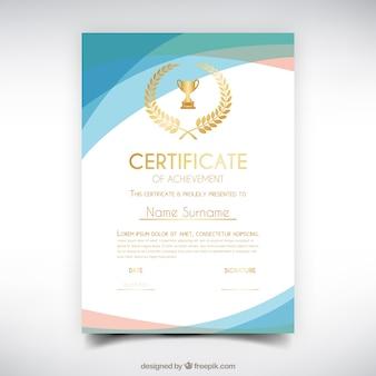 Certyfikat ukończenia z falistymi formami