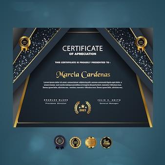 Certyfikat uznania nowoczesnego luksusowego szablonu projektu