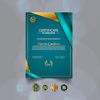 Certyfikat uznania nowoczesny szablon