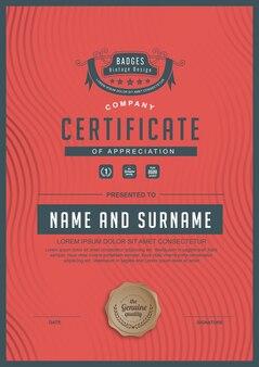 Certyfikat uznania szablon nagrody.