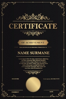 Certyfikat uznania szablon z rocznika złotą obwódką