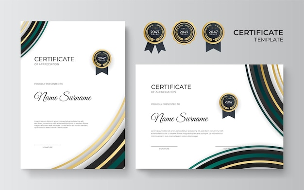 Certyfikat uznania szablonu, kolor złoty i zielony. czysty nowoczesny certyfikat ze złotą odznaką. szablon granicy certyfikatu z luksusowym i nowoczesnym wzorem linii. dyplom szablon wektor