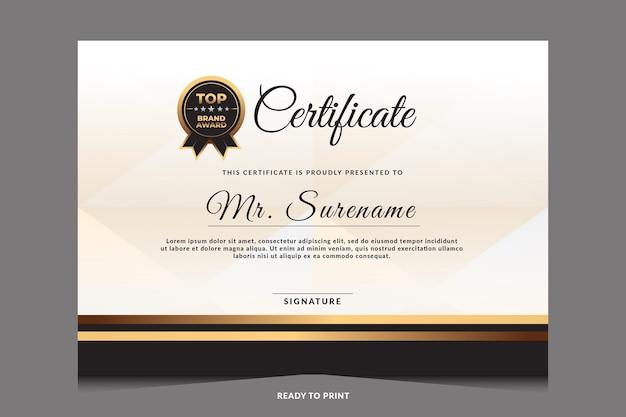 Certyfikat uznania szablonu ze złotą odznaką