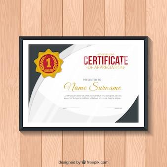 Certyfikat uznania ze szczegółami dotyczącymi złota
