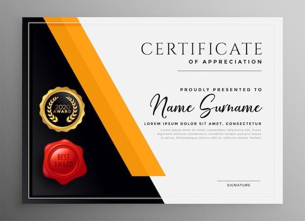 Certyfikat uznania żółty profesjonalny projekt szablonu