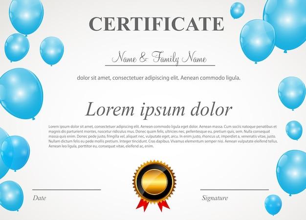 Certyfikat z balonami szablon ilustracji wektorowych