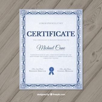 Certyfikat z niebieskimi ozdobami