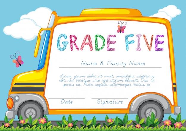 Certyfikat z tłem autobusu szkolnego w parku
