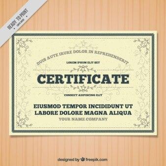 Certyfikat ze szczegółami ozdobnych