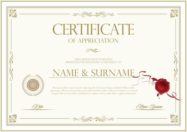 Certyfikat ze złotą pieczęcią i kolorowym obramowaniem