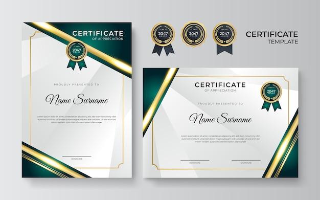 Certyfikaty osiągnięć szablony projektów obramowań z elementami luksusowych złotych odznak, zielonych kształtów i nowoczesnych wzorów linii. graficzny układ wydruku wektorowego można wykorzystać do nagród, uznania, edukacji