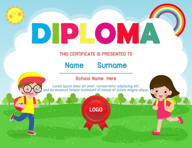 Certyfikaty przedszkola i elementarna ilustracja