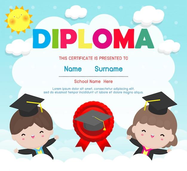 Certyfikaty przedszkolne i podstawowe, szablon certyfikatu preschool kids diploma
