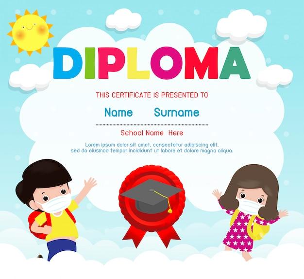 Certyfikaty przedszkolne i podstawowe, szablon projektu tła dla dzieci w wieku przedszkolnym, słodkie dzieci noszące maskę, aby zapobiec koronawirusowi 2019 ncov lub covid-19, ilustracja