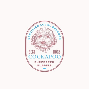 Certyfikowany odznaka hodowcy psów lub szablon logo. ręcznie rysowane cockapoo szczeniak twarz szkic z retro typografii i granic. rocznika emblemat premium. odosobniony