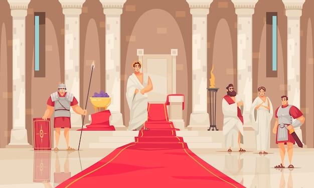 Cesarz i jego tron w starożytnej kreskówce z zamkiem rzymskim