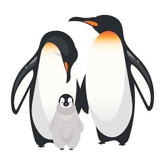 Cesarza pingwinów koloru wektoru płaska ilustracja. nielotne dorosłe ptaki z kurczakiem. antarktyczne gatunki morskie. grupa stworzeń arktycznych na białym tle postać z kreskówki