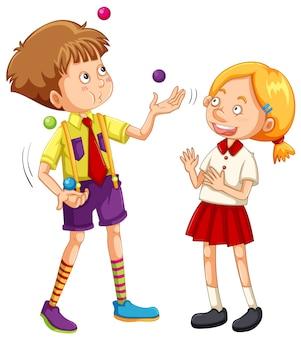Chłopiec żongluje na białym tle