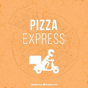 Chłopiec dostawy pizzeria wektora projektowania