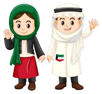 Chłopiec i dziewczynka z Kuwejtu machając rękami