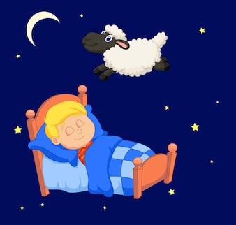 Chłopiec odliczający owce