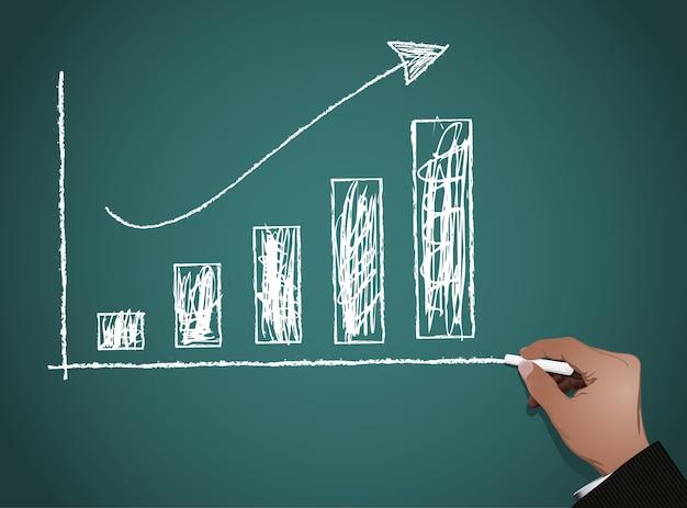 Chalkboard z finansowym biznesowym wykresem