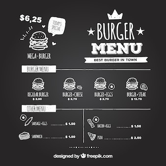 Chalkboard z smaczne hamburgery