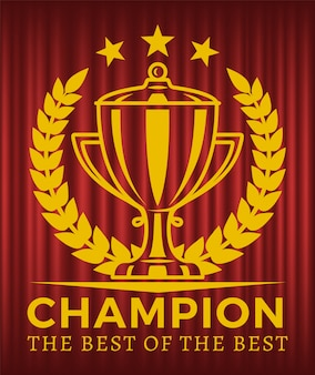 Champion the best of the best złoty puchar wektor