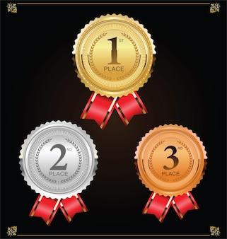 Champion złoty srebrny i brązowy medal z kolekcją czerwona wstążka