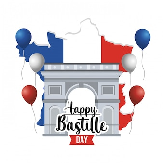 Champs elyses z balonami i mapą francji
