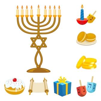 Chanuka judaizmu wakacje zestaw elementów kreskówek. odosobniony ilustracyjny prezent i powitanie. zestaw elementów święta chanuka.
