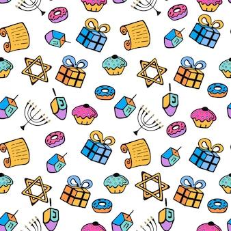 Chanuka. zestaw tradycyjnych atrybutów menory, drejdla, tory, pączka w stylu doodle. wzór.