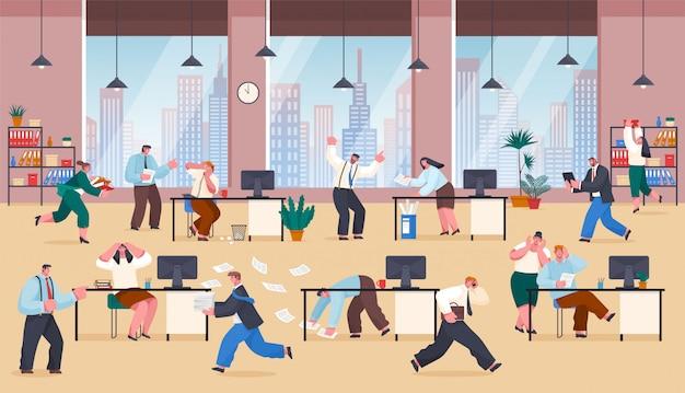 Chaos w biurze zestresowany sfrustrowani pracownicy pracują