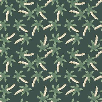 Chaotyczne palmy wzór na zielonym tle. prosta tapeta tropikalna. tło dekoracyjne do projektowania tkanin, nadruków na tekstyliach, zawijania, okładek. ilustracja wektorowa