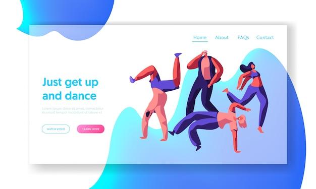 Character dancing extreme breakdance na street landing page. freestyle music cool action party. młody mężczyzna, nastolatek elastyczna witryna akrobatyczna lub strona internetowa. ilustracja wektorowa płaski kreskówka