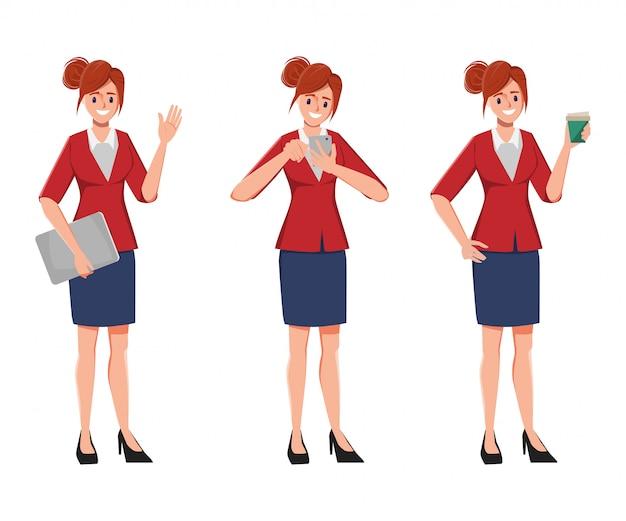 Charakter biurowy bizneswoman w kostiumu sukni pozie ustawia. charakter tworzenia miejsc pracy w biurze.