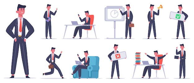 Charakter biznesmen. mężczyzna pracownik biurowy, pracownik biznesowy sukcesu, zestaw ikon ilustracji zawodowych przywódców finansów. profesjonalny pracownik, biznesmen wykonawczy zawodu