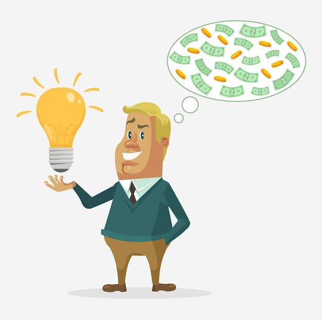 Charakter Biznesmen Zarabia Pieniądze. Premium Wektorów